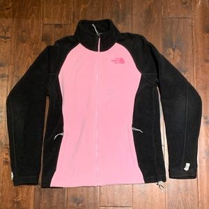 Pink & Black North Face full-zip fleece (medium)